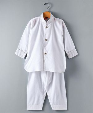 Ethnik's Neu Ron Full Sleeves Sherwani & Pajama Set - White