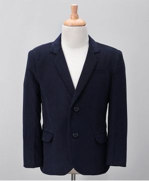 Babyoye Full Sleeves Party Wear Corduroy Blazer - Navy Blue