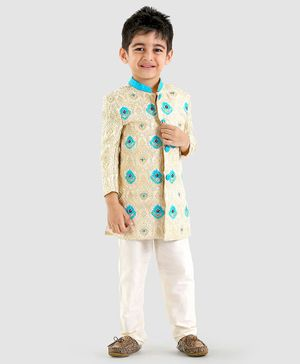 Babyoye Full Sleeves Sherwani And Pajama Embroidery - Beige