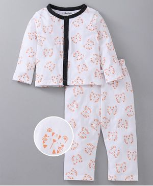Babyoye Full Sleeves Night Suit Tiger Print - White