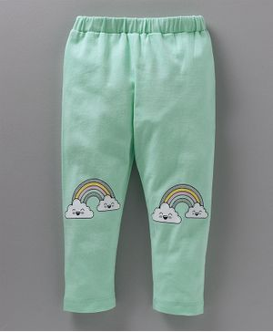 Babyoye Full Length Leggings Glittery Rainbow Print - Sea Green