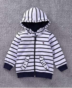 Babyoye Full Sleeves Stripe Hooded Sweat Jacket - White Navy Blue