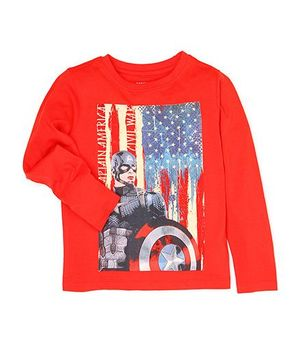 Flying Machine Captain America Print T-Shirt - Red