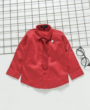 Robo Fry Full Sleeves Party Wear Shirt With Tie - Red