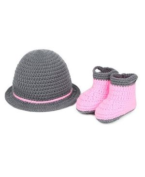Babymoon Cap And Booties New Born Baby Photography Prop - Grey Pink