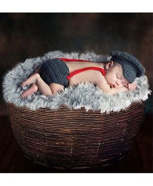 Babymoon Captian Designer New Born Baby Photography Props Set of 3 - Grey Red
