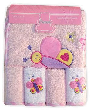Owen Cotton Hooded Towel And Wash Cloths Butterfly Design Set of 5 - Pink White