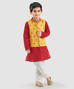 Babyhug Full Sleeves Cotton Silk Kurta And Pajama With Embroidered Jacket - Red Yellow