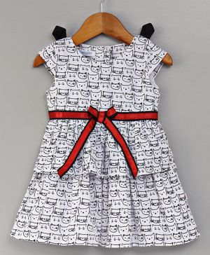 Cuteopia Cat Print Dress - White