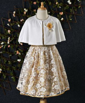 Cuteopia Floral Design Dress With Cape - Beige