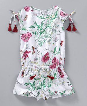 Cuteopia Flower & Butterfly Print Jumpsuit - White