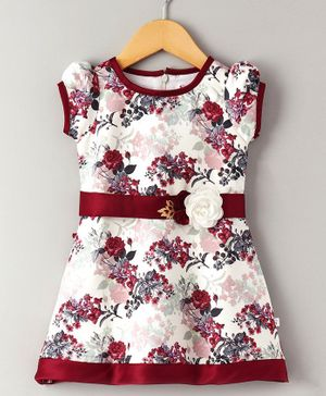 Cuteopia Rose Print Dress With Belt At Waist - Maroon