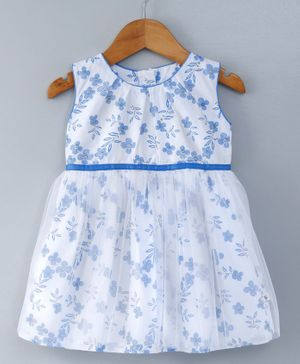 Cuteopia Floral Print With Net Frill Frocks - White & Blue