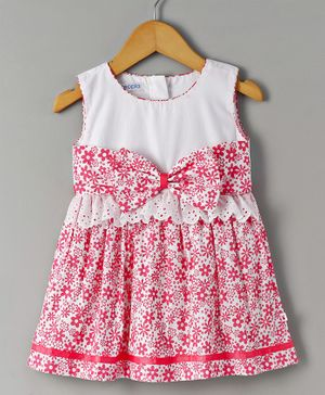 Cuteopia Floral Print Dress With Bow Applique - Pink