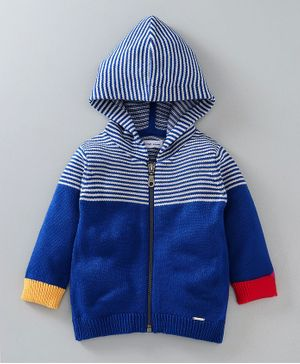 Babyoye Full Sleeves Hooded Front Open Sweater - Blue