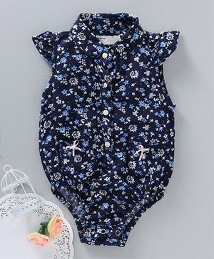 Happiness Floral Print Collar Neck Onesie - Blue