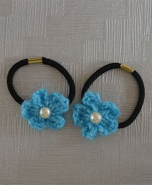 Daffodils Set Of 2 Crochet Rubberbands With Pearl - Turquoise Blue