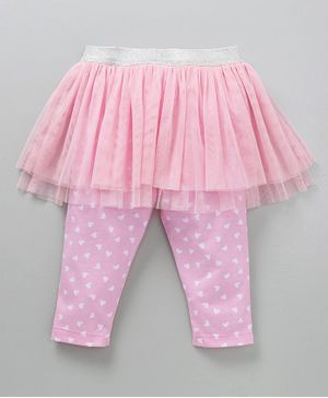 Babyoye Skeggings Heart Print - Pink