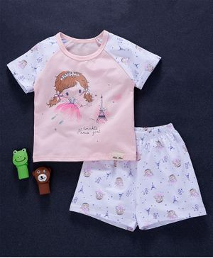 Here Girl Print Tee & Shorts - Pink