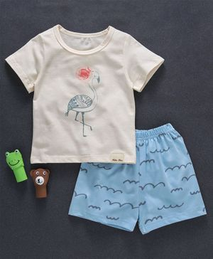 Here Bird Print Tee & Shorts - Cream
