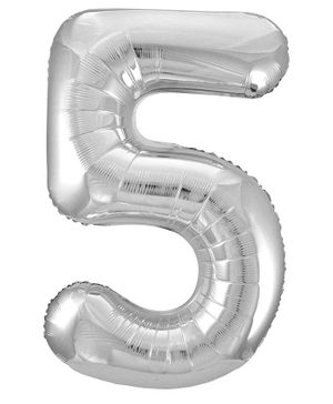 Party Anthem 5 Number Foil Balloon- Silver (16 Inch)