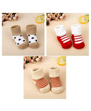 Syga Ankle Length Warm Socks Kitty Design Pack of 3 - Multicolour