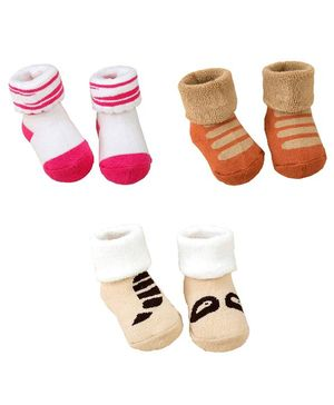 Syga Ankle Length Warm Socks Bunny & Striped Design Pack of 3 - Multicolour