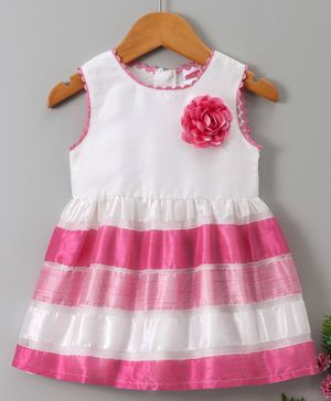 Babyhug Sleeveless Frock Floral Applique - Pink White