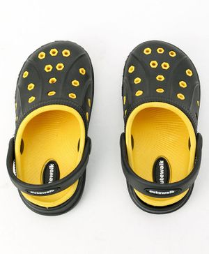 Cute Walk by Babyhug Clogs With Back Strap - Black & Yellow