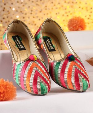 Cute Walk by Babyhug Striped Mojaris With Thread Work - Multicolour