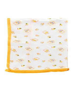 Tinycare Baby Towel With Teddy Print - Yellow