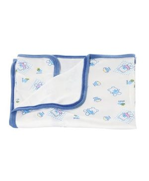 Tinycare Baby Towel With Teddy Print - Blue