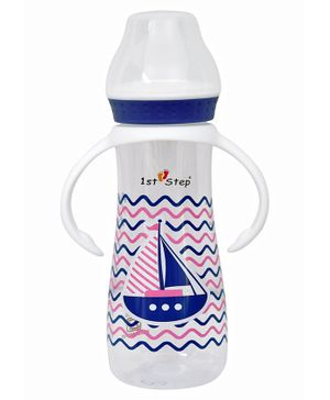 1st Step  Feeding Bottle With Twin Handle Ship Print Blue - 250 ml