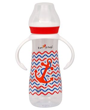 1st Step  Feeding Bottle With Twin Handle Anchor Print Red - 250 ml