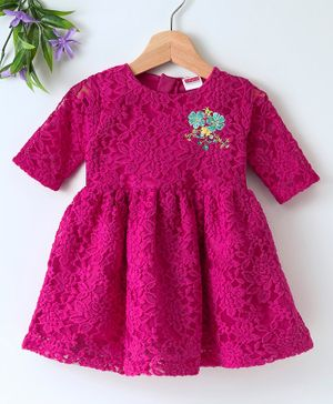 Babyhug Long Sleeves Lace Fabric Party Wear Dress - Pink