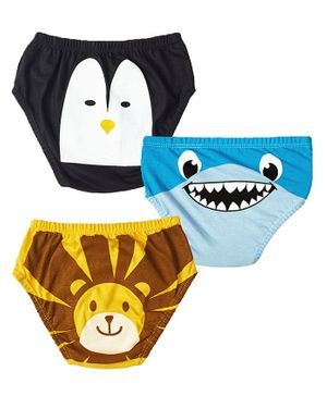 Plan B Animal Face Printed Pack Of 3 Briefs - Blue Black Yellow
