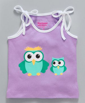 Morisons Baby Dreams Sleeveless Jhabla Vest Owl Print - Light Purple