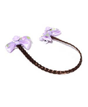 Golden Peacock Bow Alligator Hair Clip - Brown & Purple