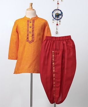 Babyhug Full Sleeves Kurta & Dhoti Set - Orange Red