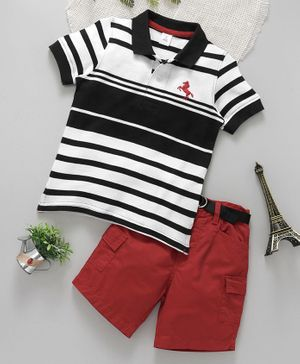 ToffyHouse Half Sleeves Striped Tee With Shorts - Black White