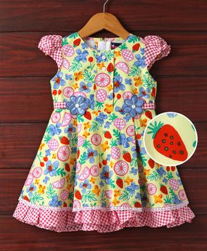 Enfance Flowers & Fruits Printed Dress - Yellow