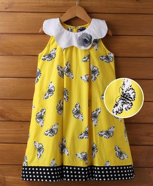 Enfance Sleevess Casual Dress With All Over Butterfly Print - Yellow
