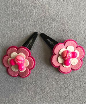 Kalacaree Pair Of Flower Hair Clips - Pink