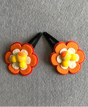 Kalacaree Pair Of Flower Hair Clips - Orange