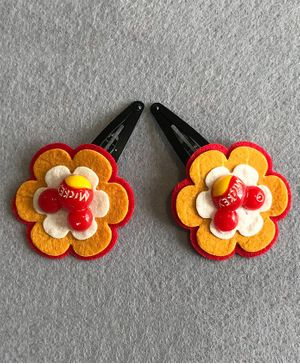 Kalacaree Pair Of Flower Hair Clips - Red