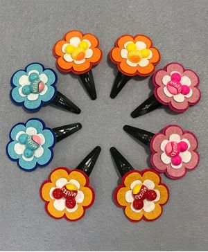 Kalacaree Combo Of 4 Flower Hair Clips - Multicolour