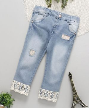 ToffyHouse Full Length Washed Jeans With Designer Hem - Light Blue