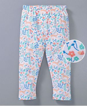 Babyoye Full Length Leggings Animal & Leaf Print - White Multicolour