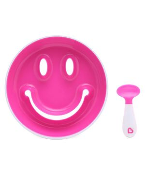 Munchkin Smile & Scoop Suction Plate With Trainer Spoon Set  - Pink