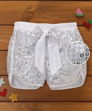 Murphy Mouse Sequined Shorts - Silver